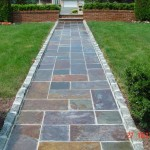 Slate Walkway with Belgian Block Border