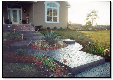 Stamped Concrete Walkway and Steps