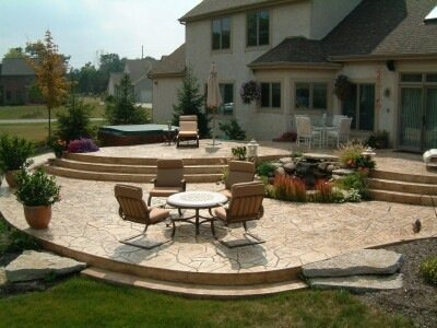 Multi-Tier Raised Stamped Concrete Patio