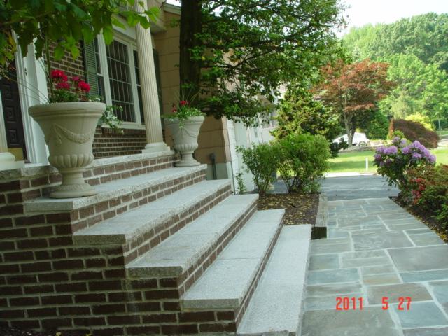 Granite Steps with Bluestone Walkway